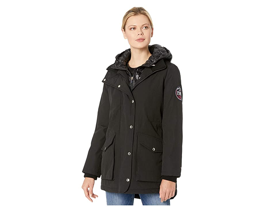Tommy Hilfiger Faux Vest Hooded Parka w/ Patch (Black) Women