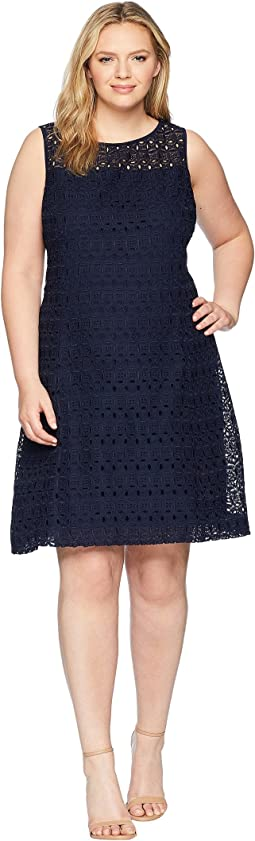 Plus Size 148H Embroidered Mondriana Sleeveless Day Dress