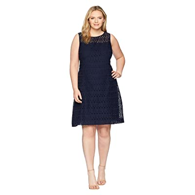 LAUREN Ralph Lauren Plus Size 148H Embroidered Mondriana Sleeveless Day Dress (Navy/Wheat) Women