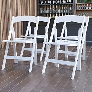 Flash Furniture 4 Pack Hercules Series 1000 lb. Capacity Resin Folding Chair with White Vinyl Padded Seat, Harz, Weiß, 45....