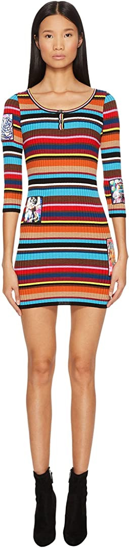 Jeremy Scott - Striped Ribbed Mini Dress