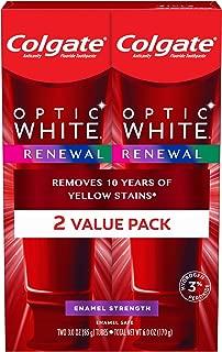 Colgate Optic White Renewal Teeth Whitening Toothpaste, Enamel Strength - 3 ounce (2 Pack)