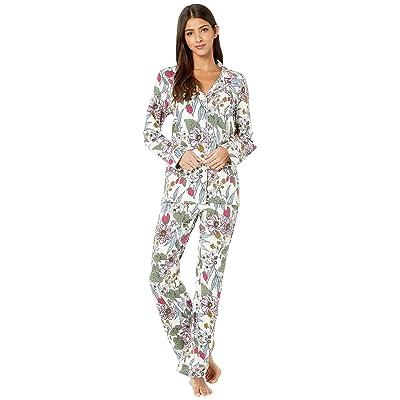 BedHead Pajamas Long Sleeve Classic Notch Collar Pajama Set (Strawberry Garden) Women