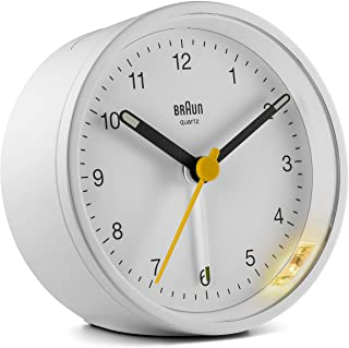 Braun Classic Analogue Clock with Snooze and Light, Quiet Quartz Movement, Crescendo Beep Alarm in White, Model BC12W, One Size