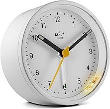 Braun Classic Analogue Clock with Snooze and Light, Quiet Quartz Movement, Crescendo Beep Alarm in White, Model BC12W, One...