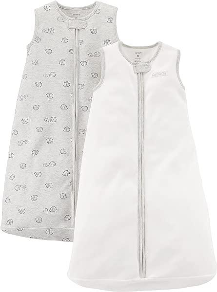 Carter S Baby 2 Pack Cotton Sleepbag Ivory Grey Hedgehog Medium