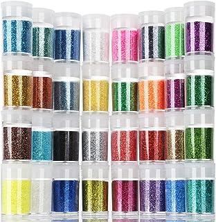 Teenitor Fine Glitter, 32 Jars 8g Each Glitter Set, 32 Assorted Color Arts and Craft glitter, Eyeshadow Makeup Nail Art Pi...