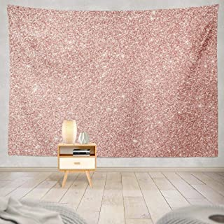 Happyome Rose Gold Tapestry, Wall Hanging Tapestry Rose Gold Glitter Pink Sparkling Shiny Christmas Holiday Wall Tapestry Dorm Home Decor Bedroom Living Room in 80X60