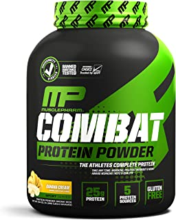 MusclePharm Combat Protein Powder, 5 Protein Blend, Banana Cream, 4 Pounds, 54 Servings