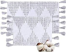Cotton Bath Rugs Water Absorbent Diamond Design Bathmat Set of 2 (Size 17x24/17x24 Color Grey)