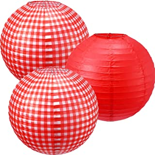Blulu Picnic Party Decorations Paper Lanterns Round Hanging Lanterns Picnic Party Lanterns for Summer Barbecue Birthdays H...