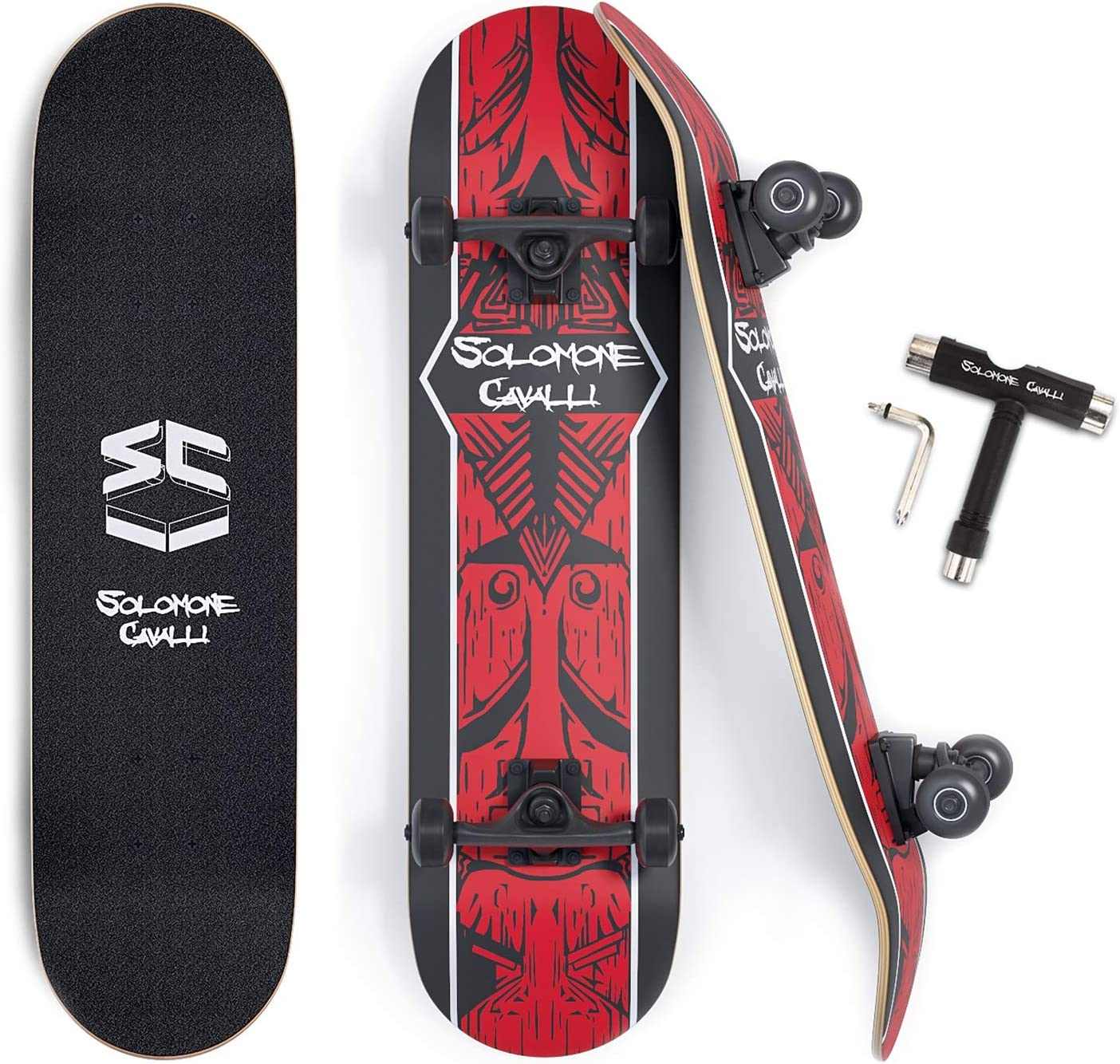 with All-in-One Skate T-Tool/¡/ Solomone Cavalli Standard Skateboard Complete 31 Double Kick Concave Skateboard for Beginners and Pro Kids Teens Adults