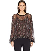The Kooples - Round Neck Top with Long Sleeves and Rib Trimming Details