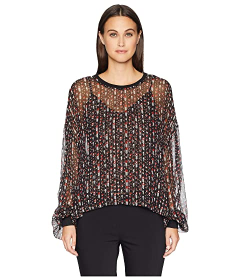 The Kooples Round Neck Top with Long Sleeves and Rib Trimming Details