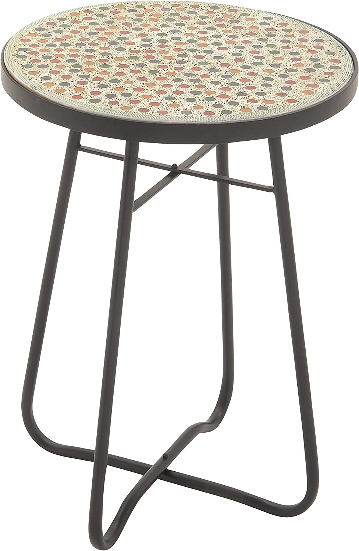 Benzara 45632 Metal Mosaic Round Accent Table, 16  x 23