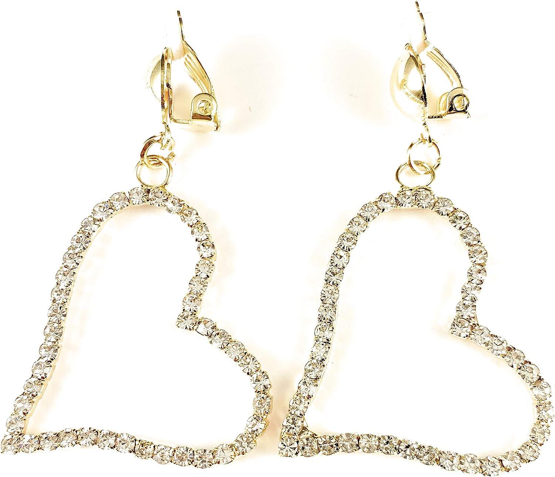 Gold Clip On Earrings Clear Crystal Heart Pendant Clips Earrings Lightweight a 1.25 inch Wide Heart Pendant