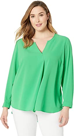 Plus Size Long Sleeve Soft Texture Split-Neck Tunic