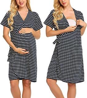 رداء أمومة مخطط من إكوير، قصير الأكمام للحوامل، ملابس مستشفى للرضاعة من متجر إكوير، مقاس S-XXL