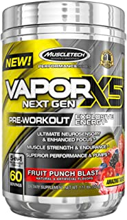 MuscleTech Vapor X5 Next Gen Pre Workout Powder, Explosive Energy Supplement, Fruit Punch Blast, 60 Servings (1.17oz)
