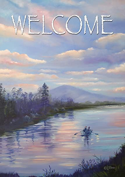 Toland Home Garden Welcome To The River 28 X 40 Inch Decorative Outdoors Forest Boat House Flag Garden Outdoor