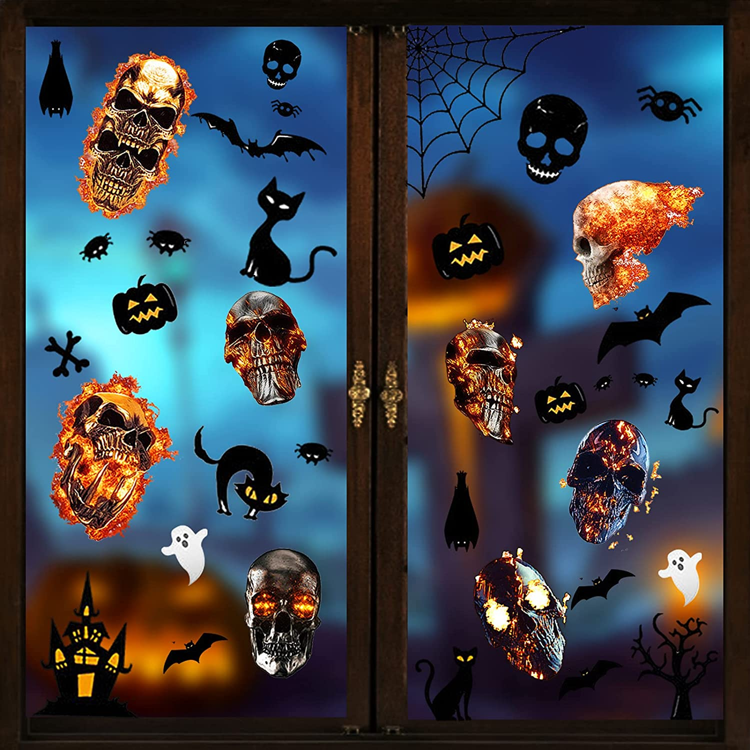Halloween Window Clings 96 Pcs 3D Scary Flaming Skull Realistic Max 42% Popularity OFF