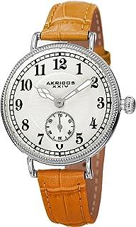 Akribos XXIV AK828 Ador Womens Casual Watch - Engraved Sunburst Lines Dial - Quartz Movement - Leather Strap