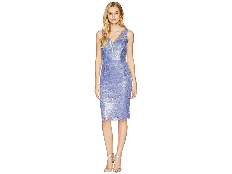Adrianna Papell Sleeveless Scallop V-Neck Lace Cocktail Dress (Pale Violet) Women