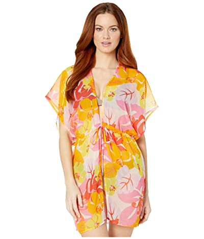 Echo New York Cutout Floral Kimono Cover-Up (Pink Hibiscus) Women