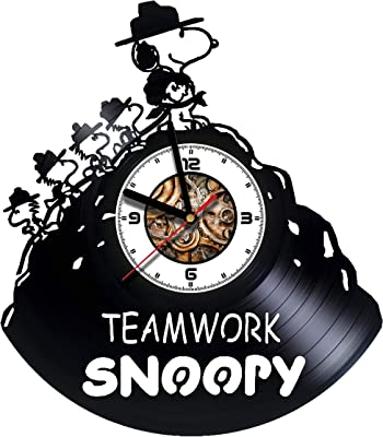 SokolartUA Snoopy - Olaf - Wall Clock Made of Vinyl Record - Decor Original Design -
