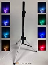 Alphasonik Universal 6 Feet Adjustable Height 35mm Tripod DJ Speaker Stand w/Variable LED Lights Constructed with Heavy Duty Durable Steel and Lightweight for Easy Mobility Safety PIN Screw Locks