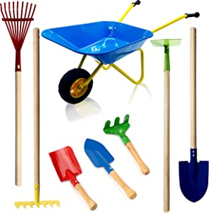 Gardening Tools for Kids Gardening Set with Kids Rakes Shovel Wheelbarrow Cart for Yardwork Toddler Rake for Leaves Fall Season Garden Toys Child Size Rakes and Wheel Barrow Kids Hoe Metal and Wood