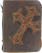 M & F Western Unisex Tooled Diagonal Cross Bible Cover Brown One Size