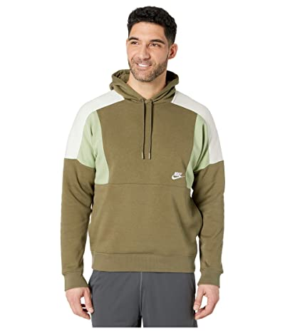 Nike NSW Hoodie Pullover Color Block (Medium Olive/Oil Green/Light Bone/White) Men