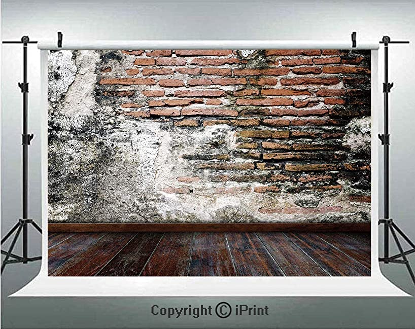 Rustic Photography Backdrops Worn Looking Wall Photograph with Wooden Floors Ancient Building Structure Decorative,Birthday Party Background Customized Microfiber Photo Studio Props,8x8ft,Cinnamon Bla