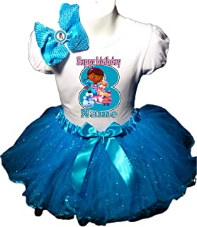 Doc McStuffins Birthday Party Dress 8th Birthday Turquoise Tutu Outfit Shirt