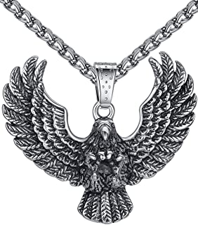 Aoiy Men's Stainless Steel Large Eagle Biker Pendant Necklace, 24