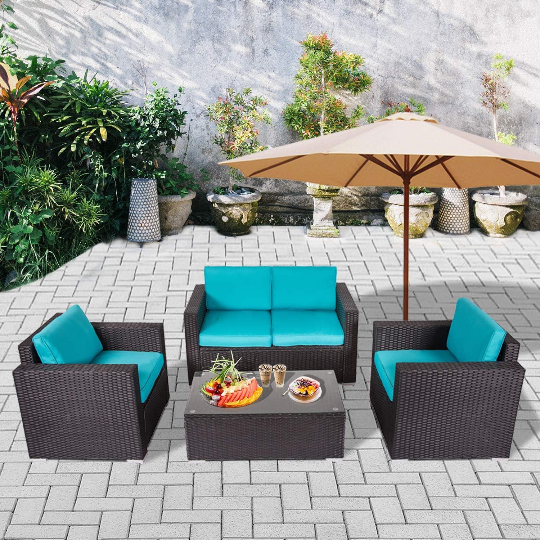 お得クーポン発行中 J-SUN-7 Outdoor Patio PE Wicker 4 Piece Sofa Blac Set Furniture ◇限定Special Price