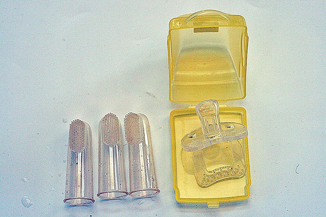 効能眉をひそめるから歯ブラシ おしゃぶり ベビーソフト歯ブラシ3個セット/ シリコンおしゃぶりカーケース入り オーラルケアギフトセット 2種類組み