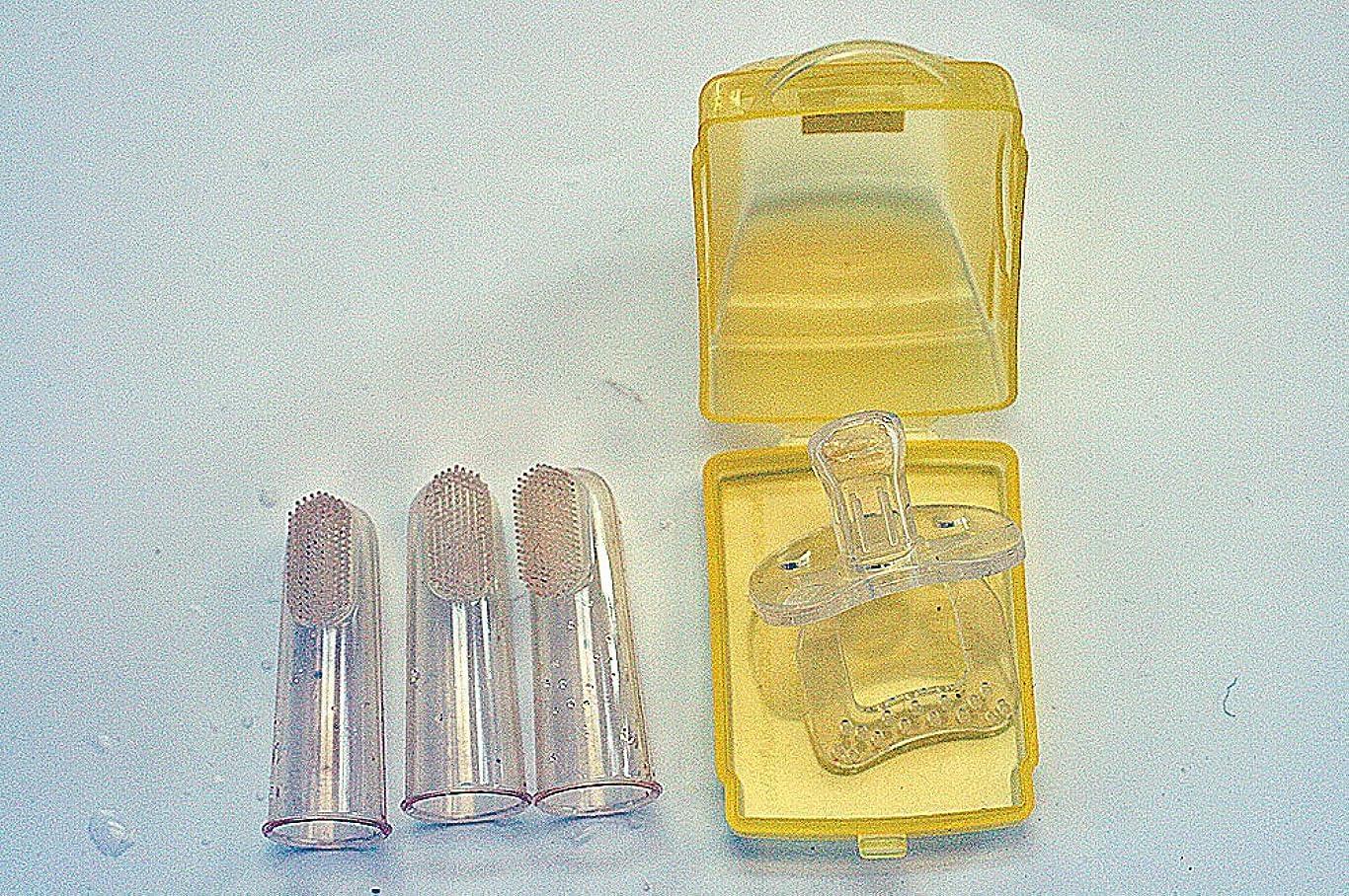 メイド組み込むアラバマ歯ブラシ おしゃぶり ベビーソフト歯ブラシ3個セット/ シリコンおしゃぶりカーケース入り オーラルケアギフトセット 2種類組み