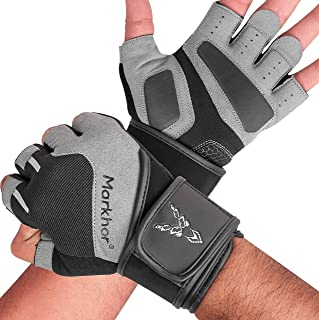 Gym Gloves with Anti-Slip Leather Palm for Weight Lifting Kettlebells Workout Cross Training Fitness Heavy Weight Exercise...