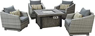 RST Brands Cannes 5 Piece Fire Chat Set, Charcoal Grey