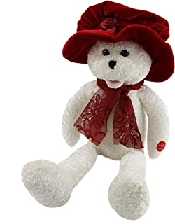 """Houwsbaby Musical Teddy Bear with a Red Velvet Hat and Lace Scarf Sings """"I Will"""" Electric Stuffed Animal Interactive Animated Plush Toy Magic Gift for Kids Halloween Christmas, White, 20 inches"""