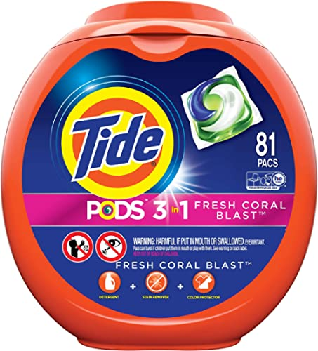 Tide PODS, Laundry Detergent Liquid Pacs, Fresh Coral Blast, 81 Count - Packaging May Vary