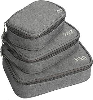 大容量3点セットトラベルポーチ ガジェットポーチ 旅行 出張 便利グッズ マウス ケーブル モバイルバッテリー 可撥水加工収納ポーチ(3 PCS-グレー)