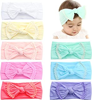 Baby Girls Nylon Headbands For Girl Newborn Infant Toddler Kids Super Stretchy Hairbands and Bows Child Hair Accessories (Pom Pom-8PCS)