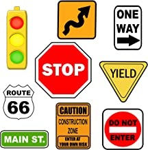 jojofuny Traffic Signs Playset Pretend Play Street Signs Warning Road Sign Toys Mini Traffic Fence Toy Micro Landscape Decor Traffic Knowledge Learning Toys
