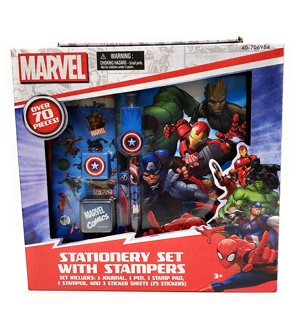 Marvel Comics Stationery Set with Stampers - Over 70 Pieces - Journal, Stamps, Sticker Sheets