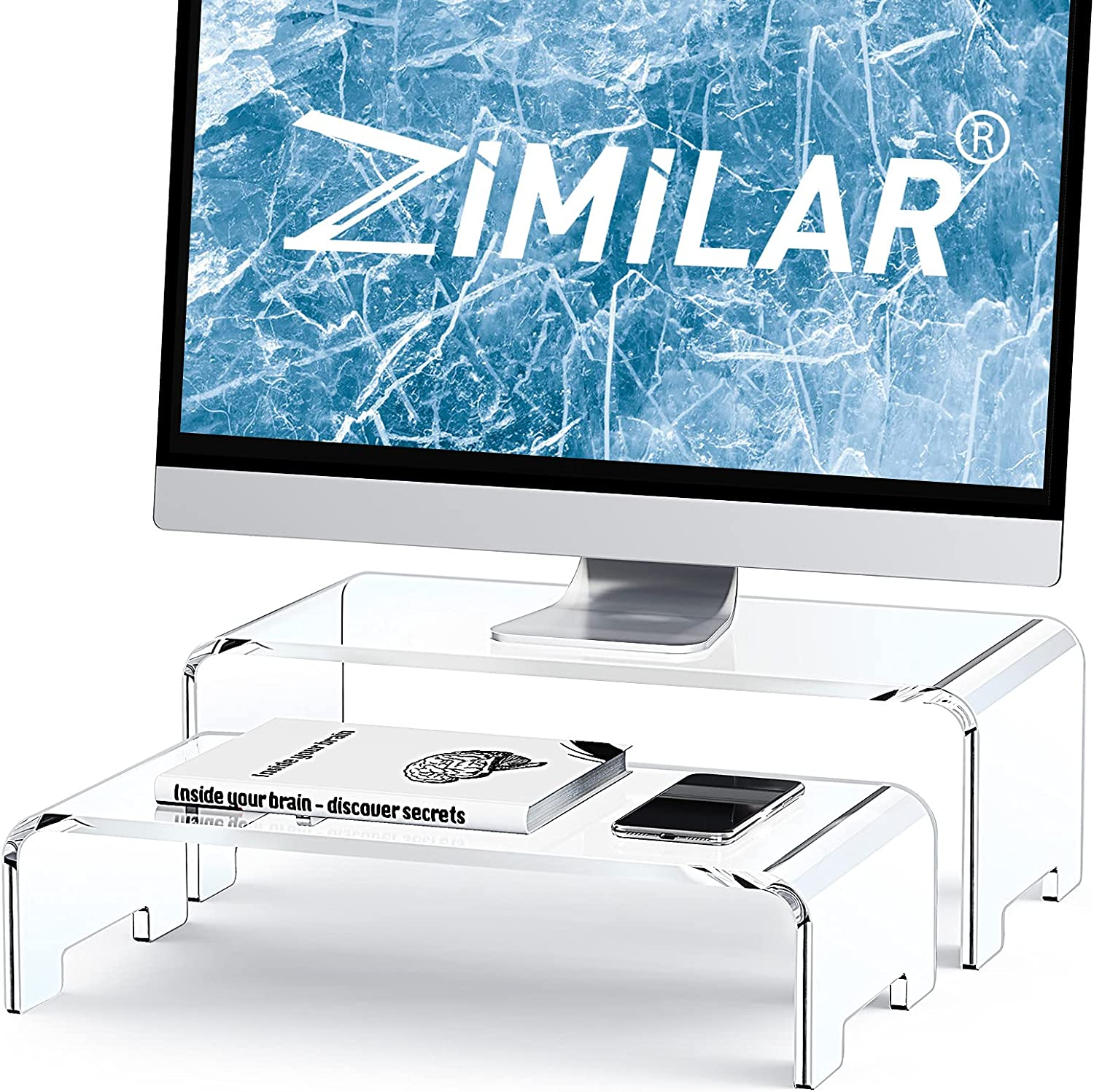 Zimilar 2 Pack Monitor Stand Riser, Acrylic Computer Stand Riser for Computer, Laptop, Printer, Notebook, iMac, Crystal Clear Laptop Stand and Monitor Riser for 2 Monitors