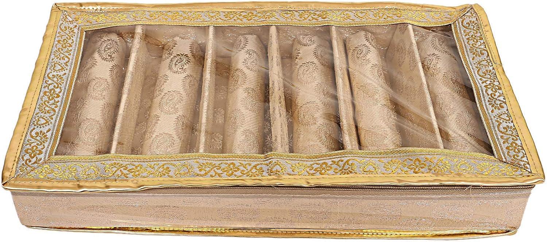 Brocade 2 Piece Cloth 6 Rod Bangle Box, Gold