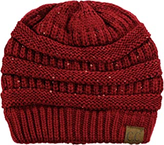 Women's Sparkly Sequins Warm Soft Stretch Cable Knit Beanie Hat